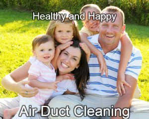 Happy family after air duct cleaning